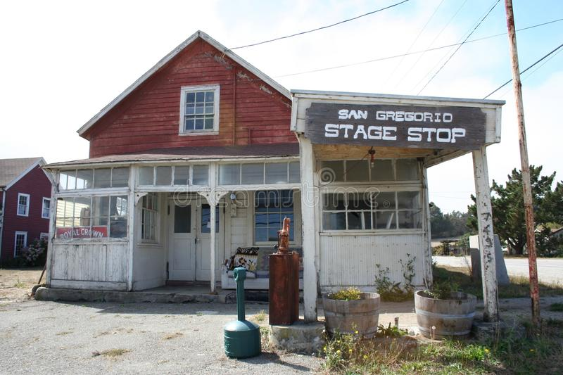 Abandoned stage coach inn, San Gregorio, CA. stock image