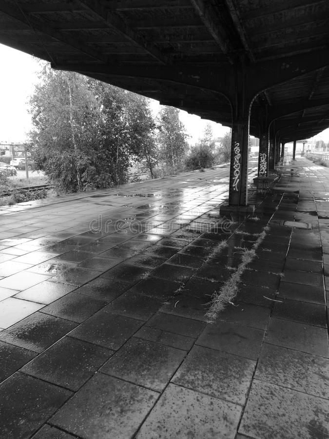 Abandoned station. Artistic look in black and white. royalty free stock images