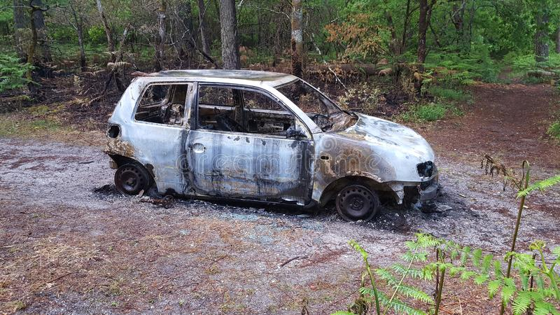 Abandoned stolen burnt out car near forest wood royalty free stock photos