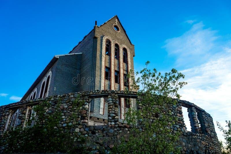 Abandoned stone Catholic Church, unfinished royalty free stock photo