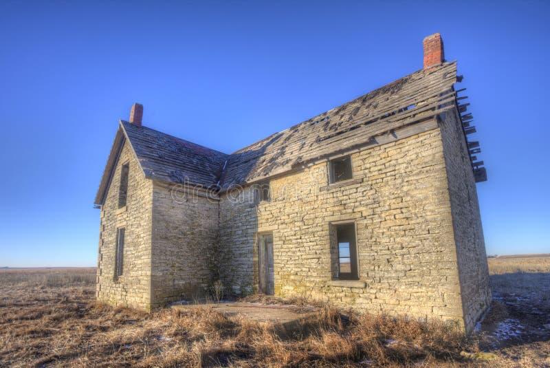 Abandoned house of Dr. William B. Jones. Abandoned stone house of Dr. William B. Jones on the open Kansas prairie near Florence stock photos