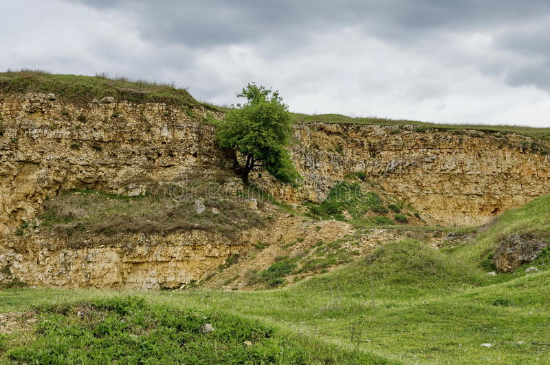 Abandoned stone-pit by Zavet town area. Bulgaria royalty free stock images