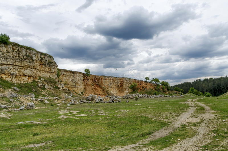 Abandoned stone-pit by Zavet town area. Bulgaria stock photos