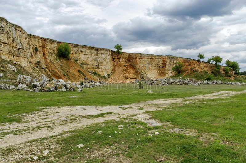 Abandoned stone-pit by Zavet town area. Bulgaria stock photo