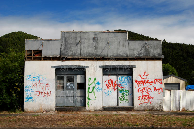 Abandoned tagged building royalty free stock images
