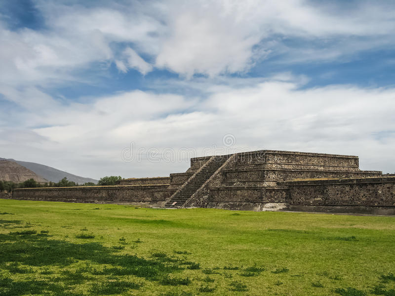 Abandoned Teotihuacan city, Mexico. One of the many pyramids of the Road of the Dead street in Pre-Colombian city Teotihuacan, close to Mexico City stock images
