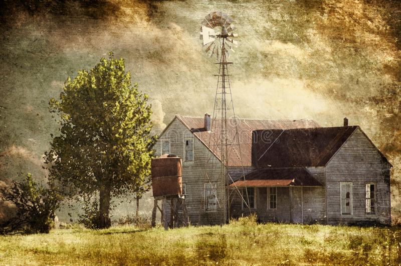 Abandoned Texas Hill Country Farmhouse stock image