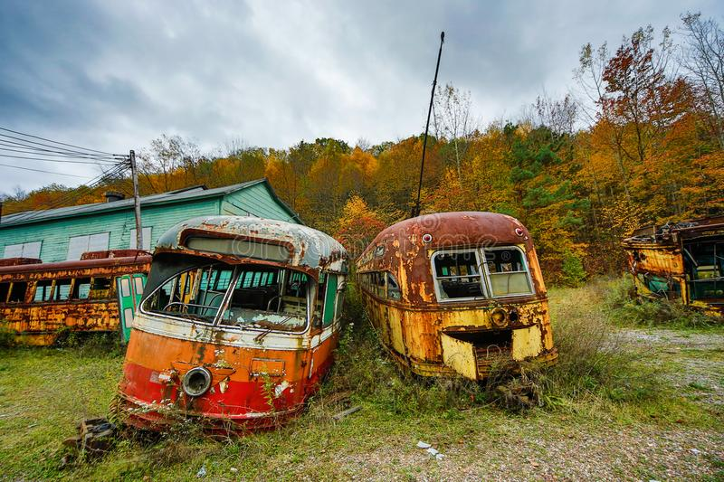 Download Abandoned Trolley Cars In Fall Stock Image - Image of field, painted: 111328621