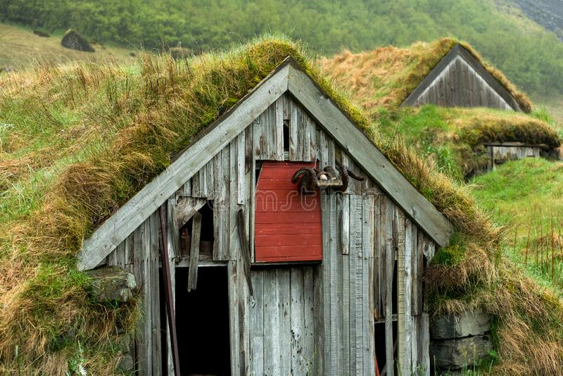 Abandoned turf houses in Nupsstadur, Iceland royalty free stock photo