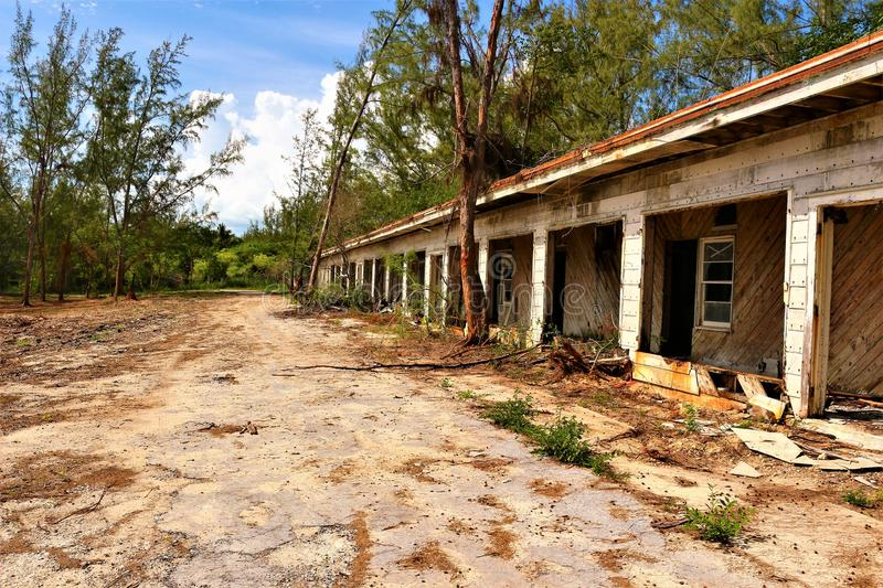 The abandoned US Navy Experimental Facility, Eleuthera. The base originated in November 1950 closed in 1982. In 1957 the Eleuthera Auxiliary Air Force Base royalty free stock images