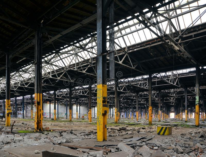 Abandoned and vacant factory. Abandoned and vacant building of a factory stock image
