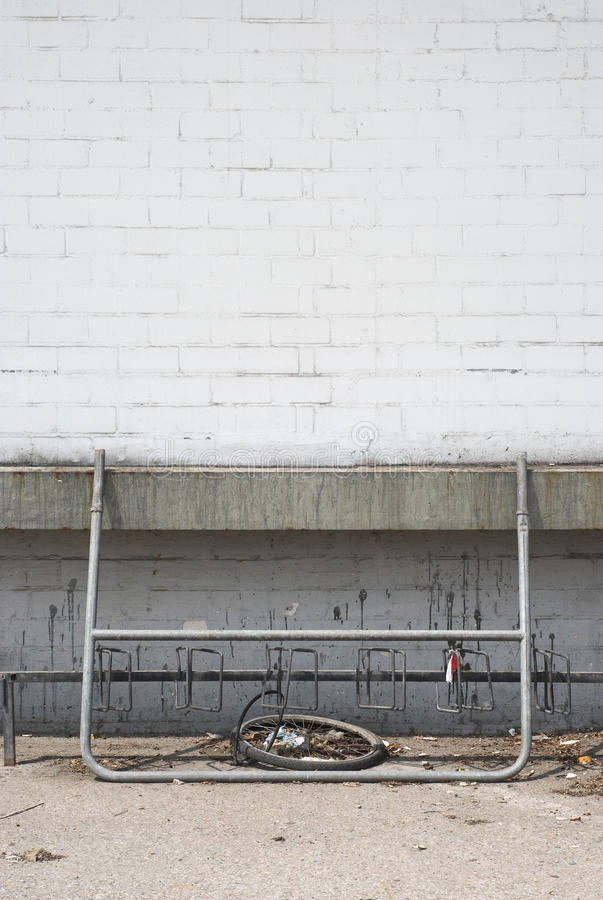 Abandoned Warehouse. With Loading Platform and Old Bike Tire stock photos