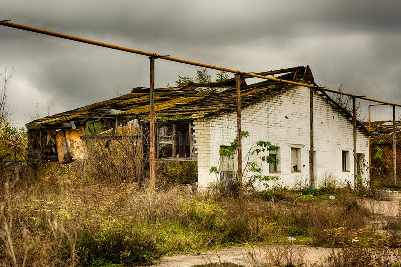 Abandoned warehouse and industrial buildings and buildings royalty free stock photography