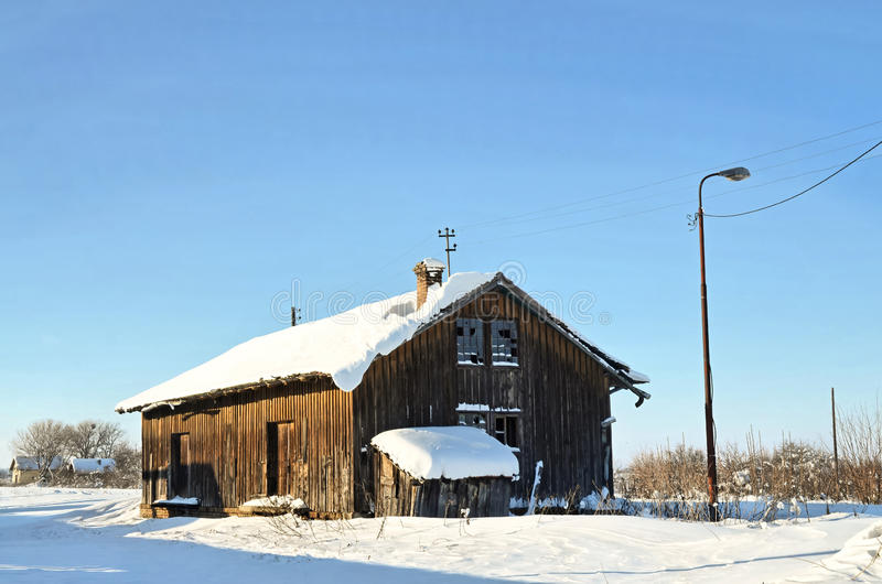 Abandoned warehouse. Abandoned railway warehouse in winter time stock photography