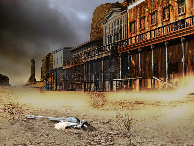 Abandoned western town. View of a street of an abandoned western town, in the desert. At the foreground we can see an abandoned gun and a golden sheriff badge