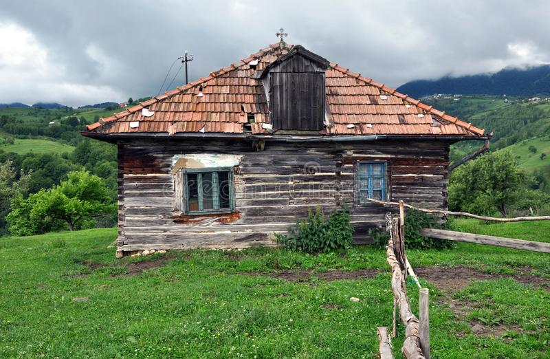 Abandoned wooden house in Transylvania, Romania stock image