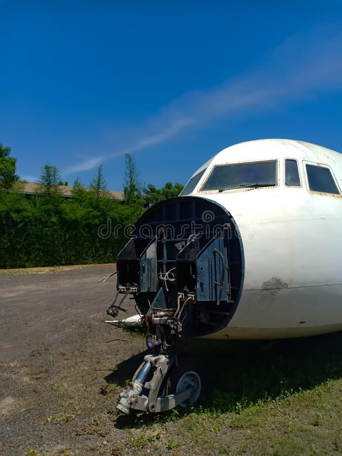 Abandoned old wrecked plane on the tropical island Bali royalty free stock images