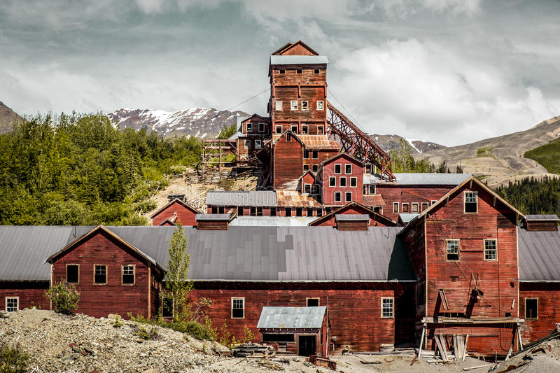 The abandonedKennecott copper mine processing mill in Alaska royalty free stock images