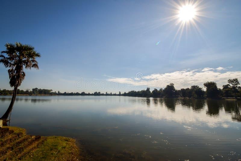 Abandonend jezioro w angkor archeologicznym parku, Cambodia zdjęcie stock