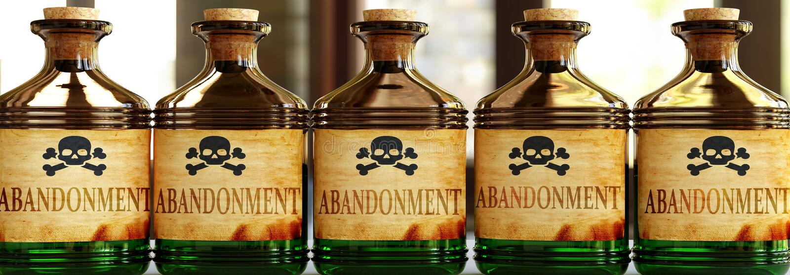 Abandonment can be like a deadly poison - pictured as word Abandonment on toxic bottles to symbolize that Abandonment can be. Unhealthy for body and mind, 3d royalty free illustration