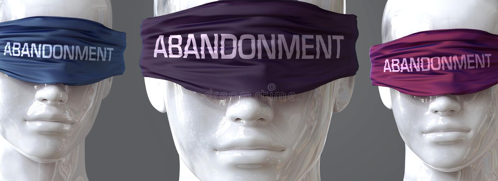 Abandonment can blind our views and limit perspective - pictured as word Abandonment on eyes to symbolize that Abandonment can. Distort perception of the world vector illustration