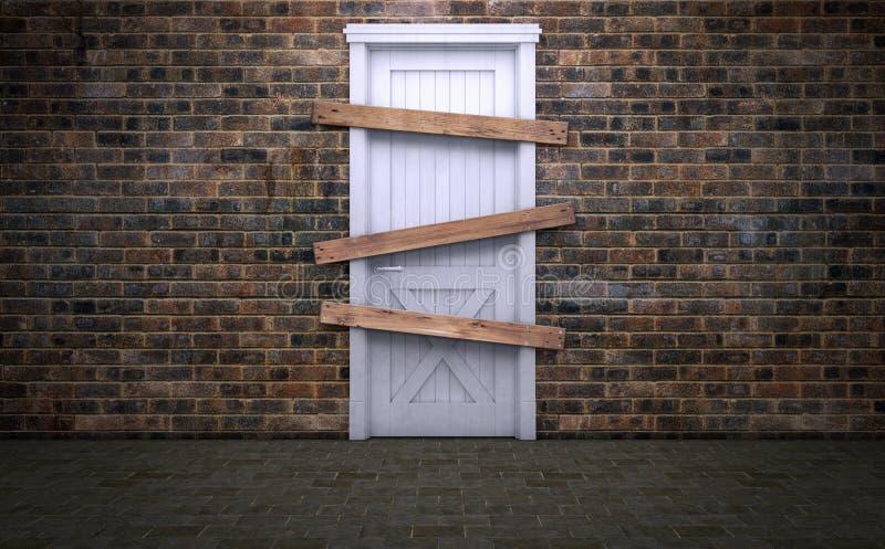 Abandonné et embarqué vers le haut de la vieille porte illustration de vecteur