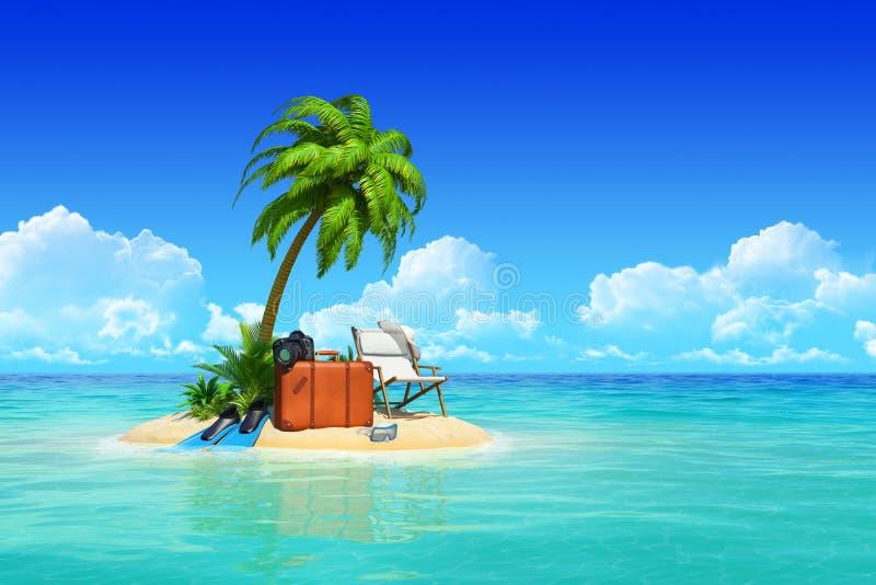 Île tropicale avec des paumes, salon de cabriolet, valise. illustration de vecteur