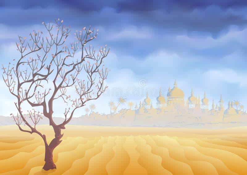 Abandonnez l'arbre de flétrissement et un mirage antique de château illustration de vecteur