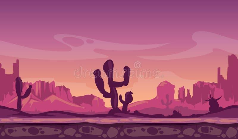 Abandonnez le paysage sauvage de bande dessinée dans le coucher du soleil avec le cactus, les collines et les montagnes fond sans illustration stock