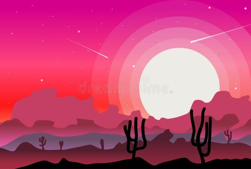 Abandonnez les paysages sauvages de nature avec le vecteur de fond de cactus illustration libre de droits