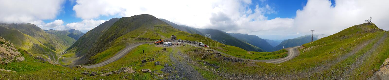 Abano Pass, a mountain pass located at 2880 metres, Georgia. Abano Pass is a mountain pass located at 2880 metres in Tusheti, Georgia. It is located in the royalty free stock image