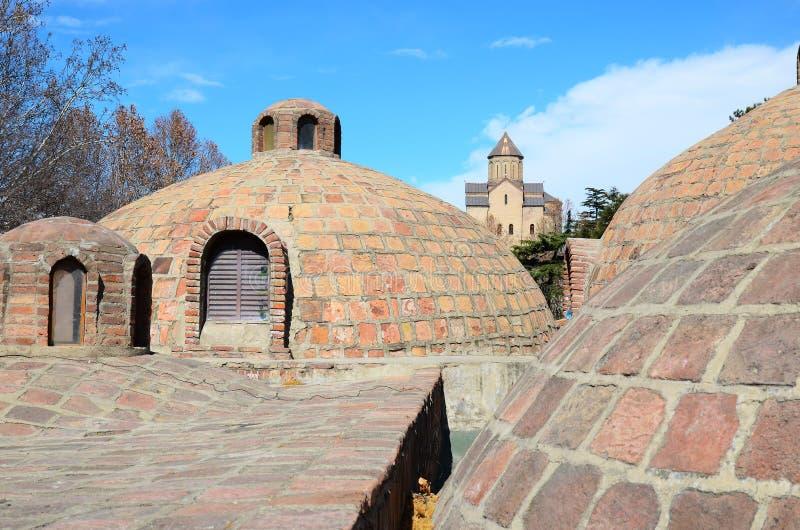 Abanotubani - горячий район ванн серы в старом Тбилиси стоковые фото