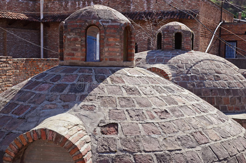 Abanotubani - горячий район ванн серы в старом Тбилиси стоковые изображения