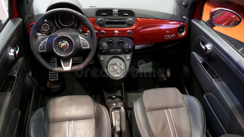 Abarth Fiat 500 interior editorial photography. Image of expensive ...