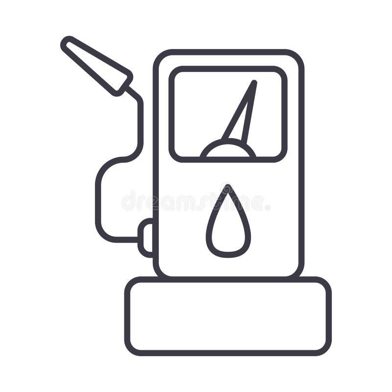 Abasteça a linha ícone do vetor do posto de gasolina, sinal, ilustração no fundo, cursos editáveis ilustração stock