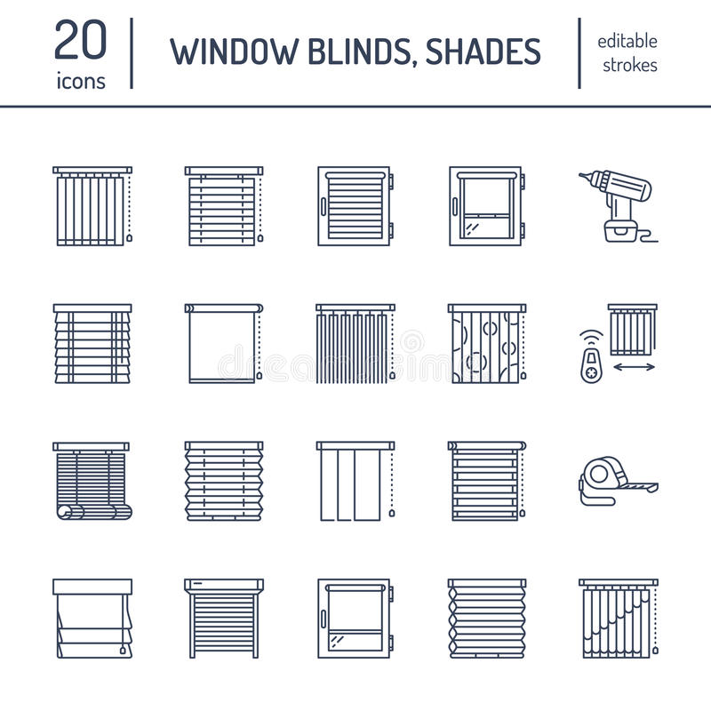 Abat-jour de fenêtre, ligne icônes de nuances Décoration de diverse pièce, volets de ternissure de rouleau, rideaux, horizontaux  illustration libre de droits