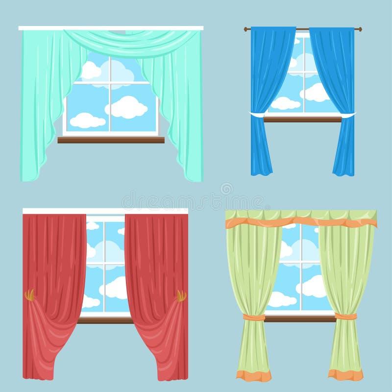 Abat-jour de nuances de draperie de rideaux Collection de vecteur de diverse fenêtre illustration stock