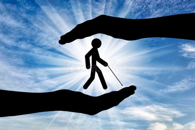 Abat-jour handicapés dans le jour de mains illustration libre de droits