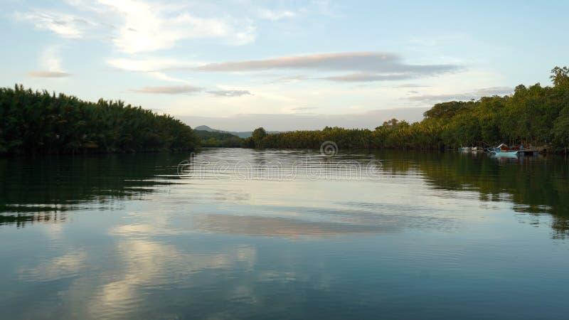Sunset, Abatan River, Filipino. Abatan River is near Cortes, Bohol Island royalty free stock image