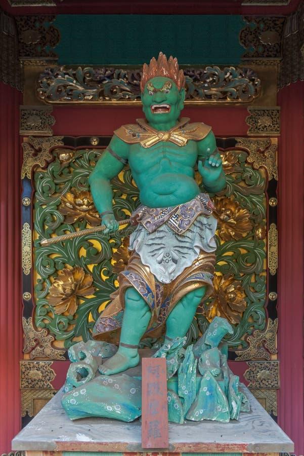 Abatsumara en av förmyndare fyra i den Yashamon porten av Taiyuin Tem arkivbild