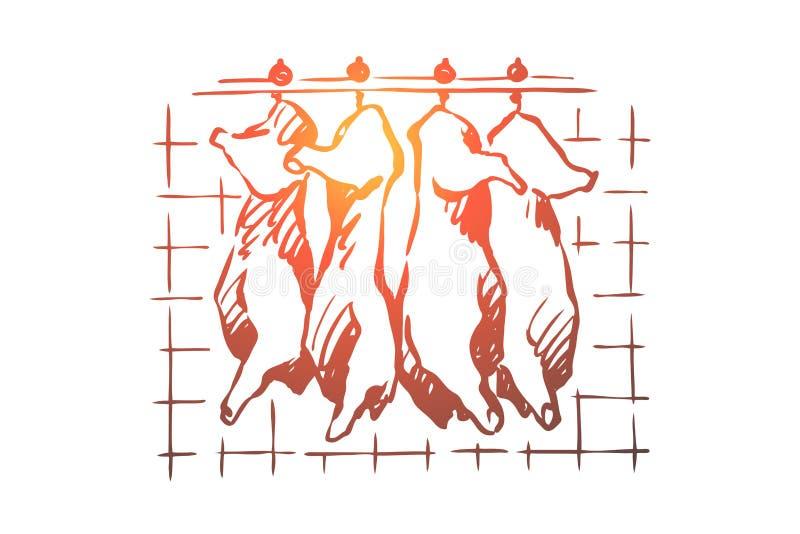 Abattoir, coupe de viande, porc coup?, carcasses de b?tail accrochant dans le cong?lateur, r?frig?rateur, produit cru et cru illustration de vecteur