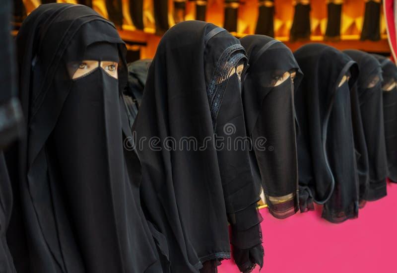 Abaya fashion shop for islamic woman in Dubai to cover face. Abaya fashion shop for islamic saudi woman in Dubai to cover face stock photo