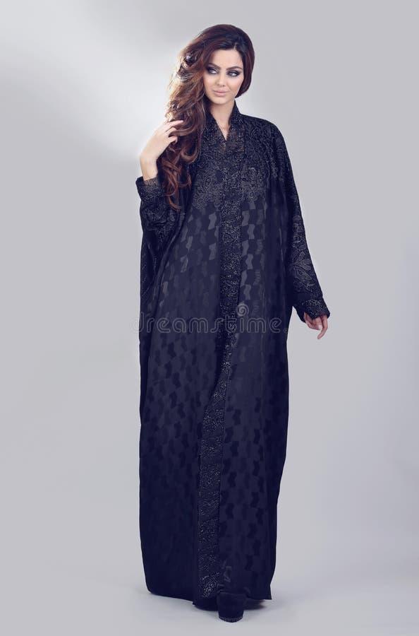 Abaya. Super model modeling for traditional Abaya dresses stock photos