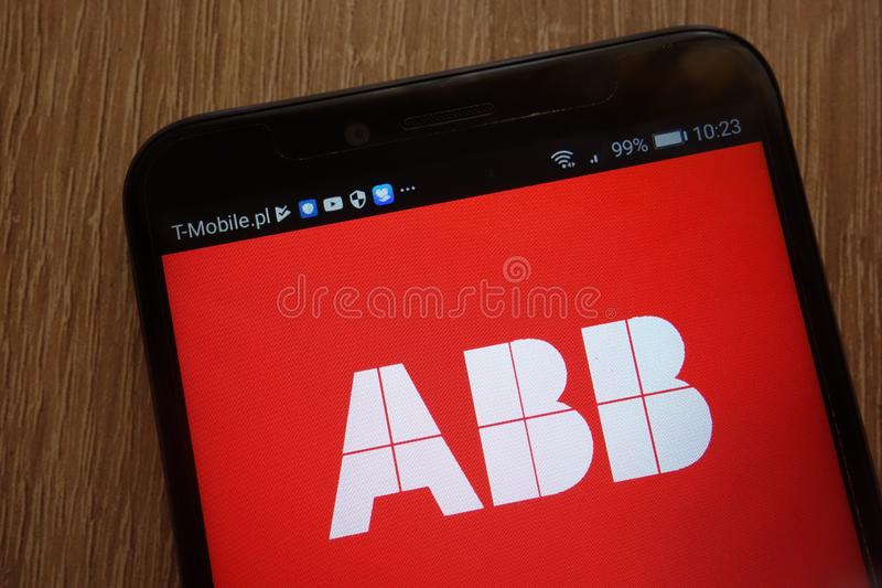 ABB logo displayed on a modern smartphone stock images