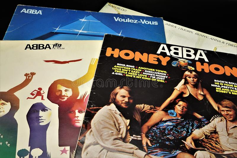 Lp Record collection of ABBA. Abba, disco, 1974 eurovision song contest, hits, music, records, vinyl, waterloo, Swedish band royalty free stock images