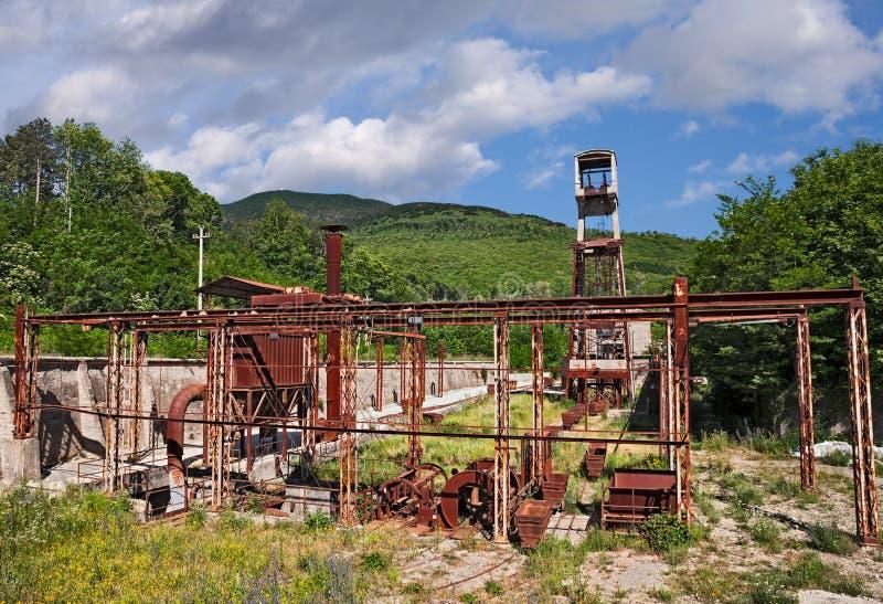 Abbadia San Salvatore, Siena, Włochy: zaniechana rtęci kopalnia fotografia royalty free
