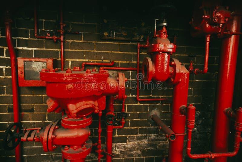 Abbandonato del sistema di estinzione di incendio fotografia stock