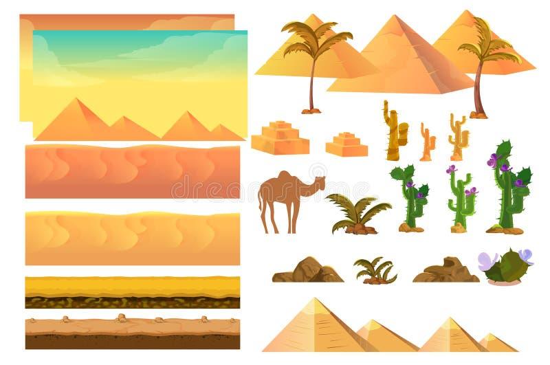 Abbandoni gli elementi senza cuciture del fondo, illustrazione del fumetto per il cellulare il app, il web, gioco con i cactus illustrazione di stock