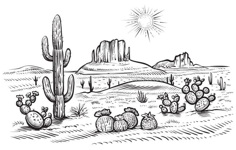 Abbandoni l'illustrazione di vettore del paesaggio con il saguaro ed il cactus di fioritura dell'opunzia illustrazione vettoriale
