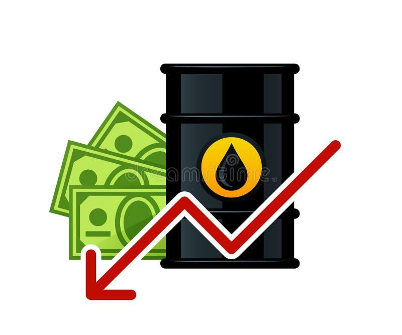 Abbassamento dei prezzi del petrolio del barilotto illustrazione di stock
